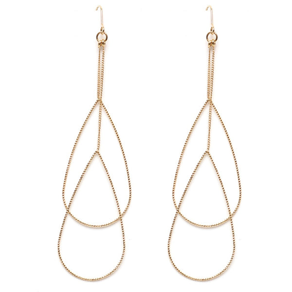 EARRING LONG DOUBLE TEARDROP GOLD