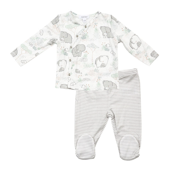 2PC KIMONO TOP AND FOOTIE GREY ELEPHANTS WITH BABY