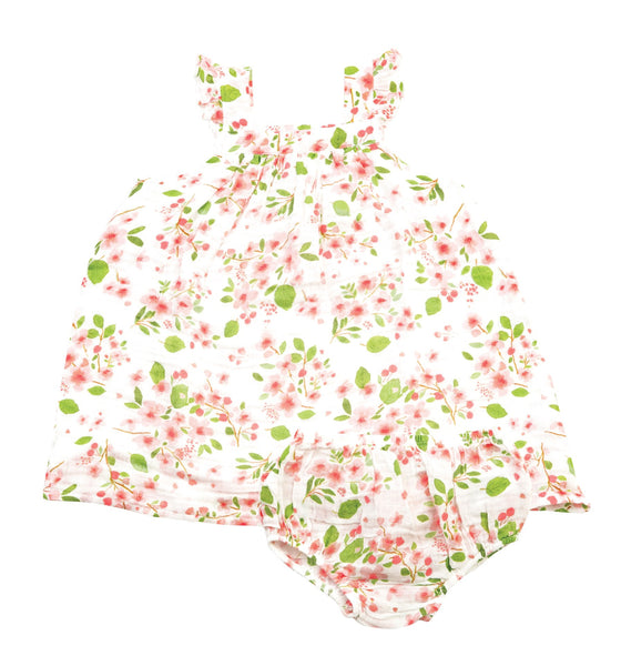 2PC MUSLIN CHERRY BLOSSOM DRESS WITH BLOOMER