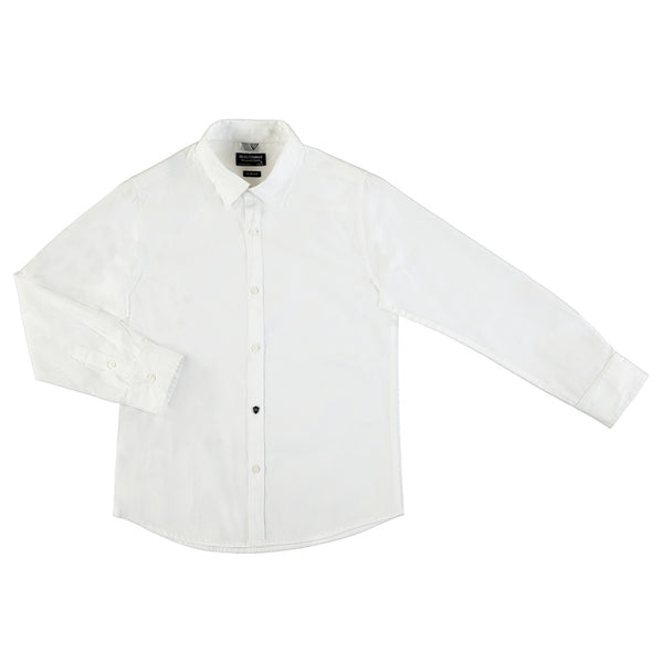 BOYS BASIC BUTTON UP WHITE SHIRT