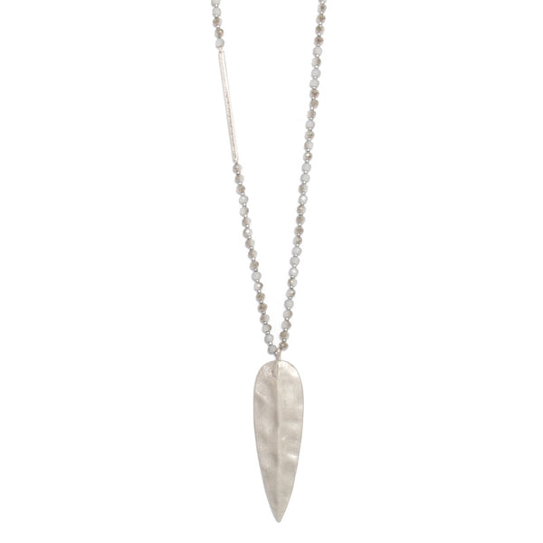 NECKLACE LONG SILVER LEAF