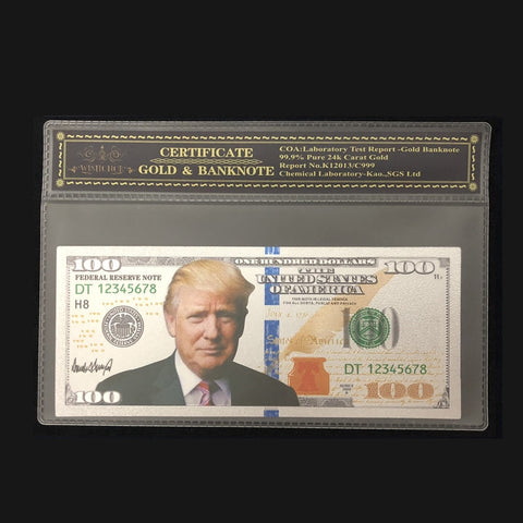 24k Silver Plated $100 Trump Banknote