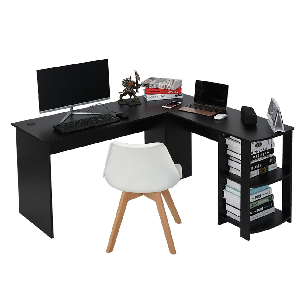 Home Office Wooden Corner Computer Desk Home Office L-Shaped Workstation Table with Bookshlef - Vintageretrostyle