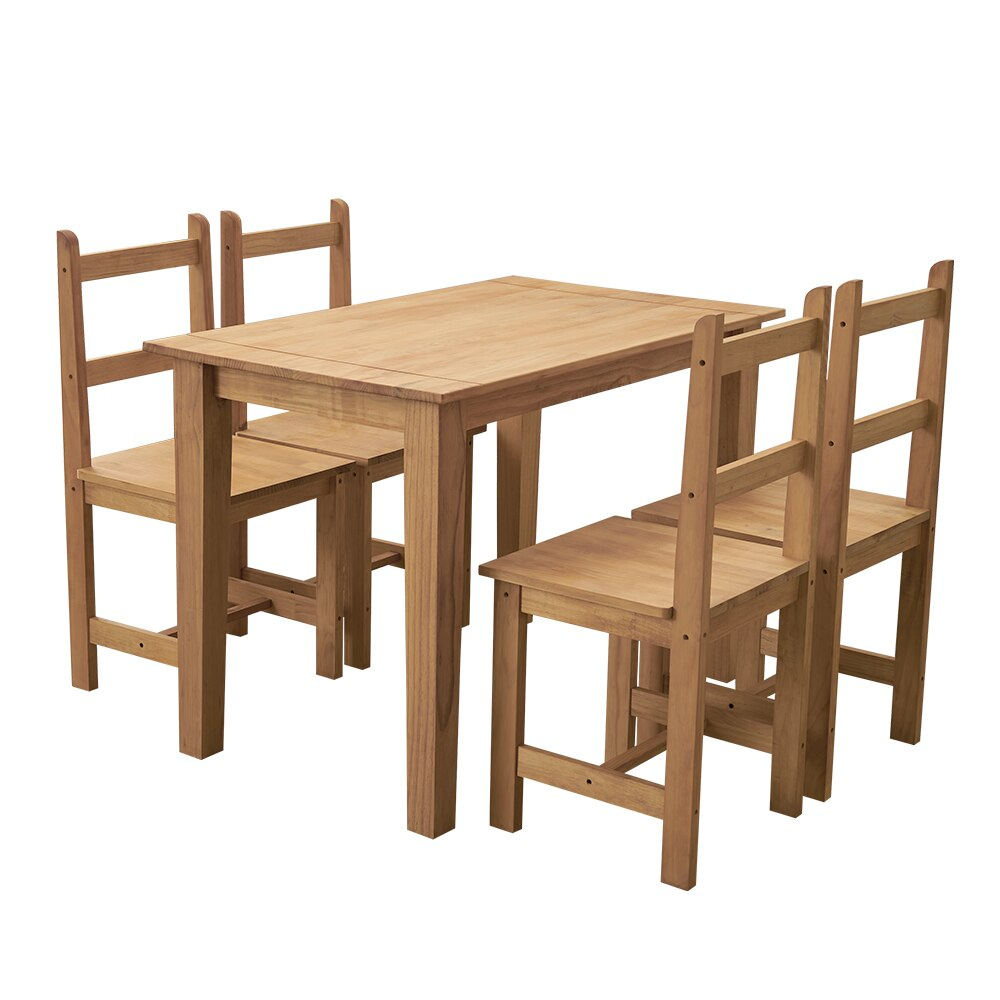 Dining Table and 4 Chairs Set Rectangle Solid Pine Kitchen dinner table set  108x65x75cm - Vintageretrostyle