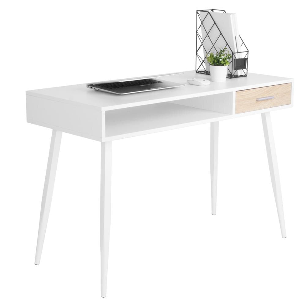 Nordic White Office Computer Desk Workstation a Drawer & an Open Compartment for Ample Storage Laptop Dining Gaming Study Writing Desk - Vintageretrostyle