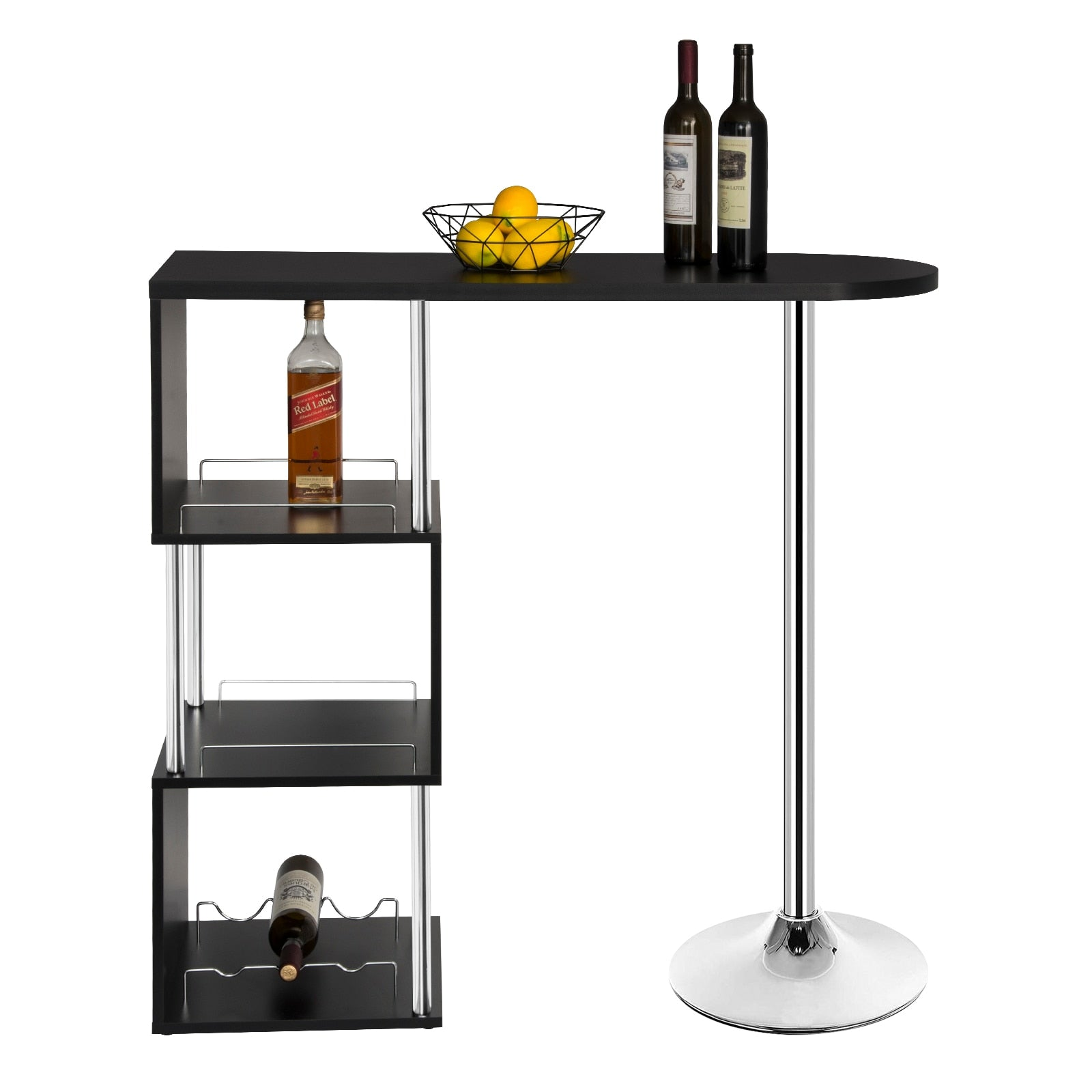 1PC Kitchen Bar Table Bistro Breakfast Dining Table Coffee Table with 3-Tier Storage Shelves for Beverage Display  Space Divider - Vintageretrostyle