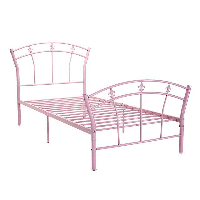 Childrens Metal Bed Frame Pink Kid 3FT Single Fan-shaped Headboard - Vintageretrostyle