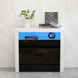 High Gloss Doors Sideboard Storage Cabinet with RGB Multicolor LED Lighting Livingroom Display Furniture - Vintageretrostyle