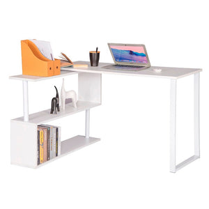 1PC Computer Office Desk Wood L-Shaped Corner Desk with Shelves - Vintageretrostyle