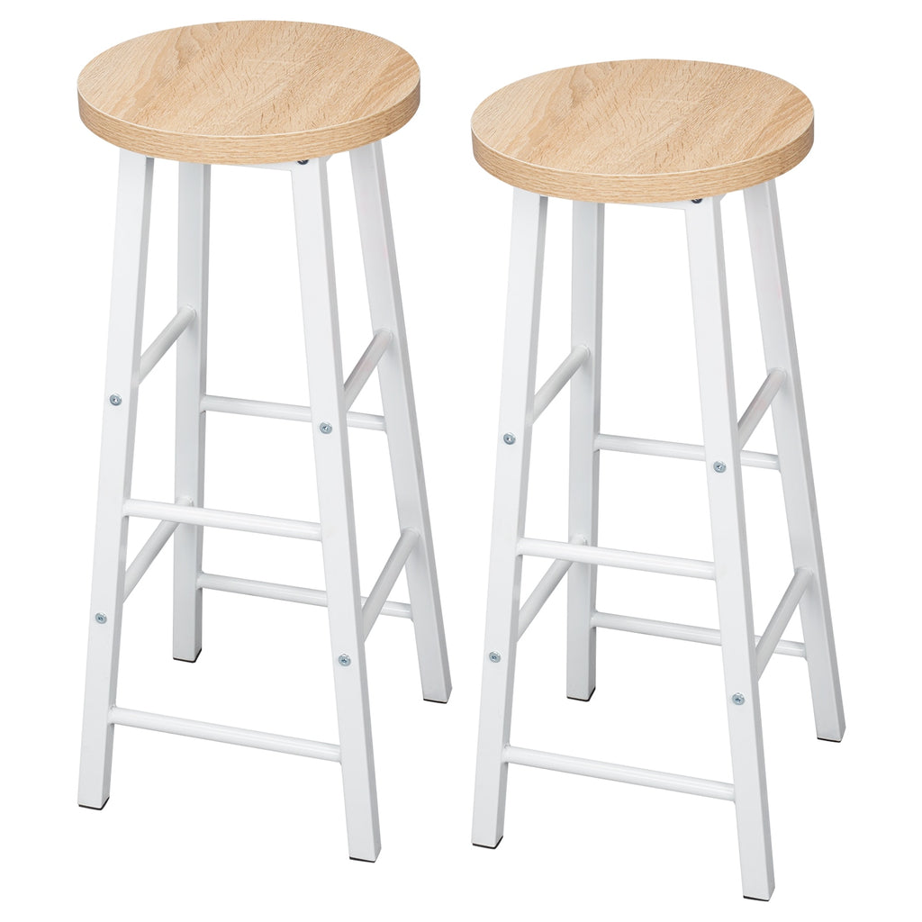 2PCS/SET Solid Wood High Bar Stools Bistro Stool Stable Durable Steel Structure Seat Coffee Chair Home Decor Stool - Vintageretrostyle