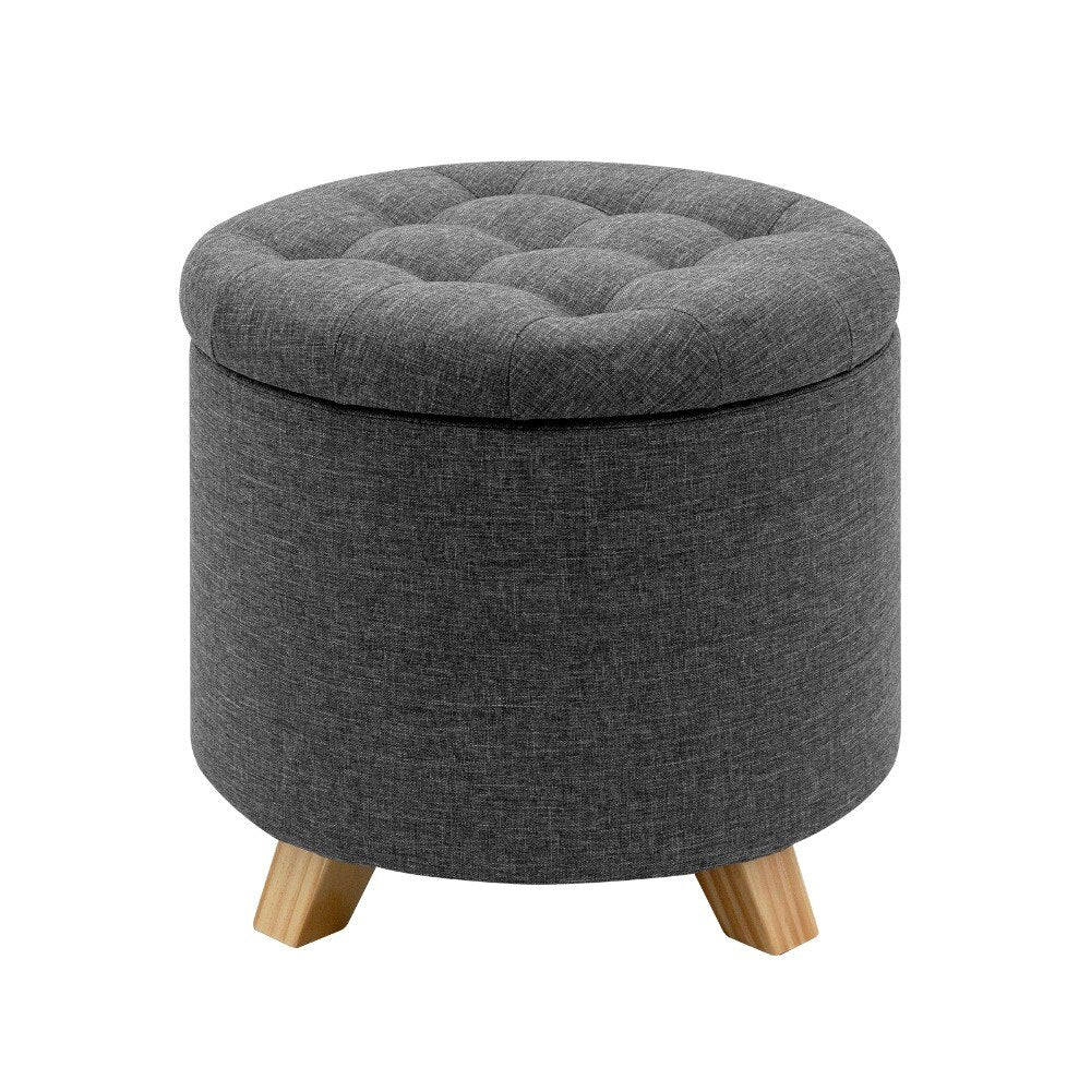 Multifunction Storage Ottoman Chair Stool Removable Cover Upholstered Footstool Round Linen Pouffe Chair Household Organizer - Vintageretrostyle