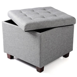 Multi-Purpose Linen Ottoman Chair Stool Storage Box Upholstered Footstool Linen Square Pouffe Chair with Removable Cover - Vintageretrostyle