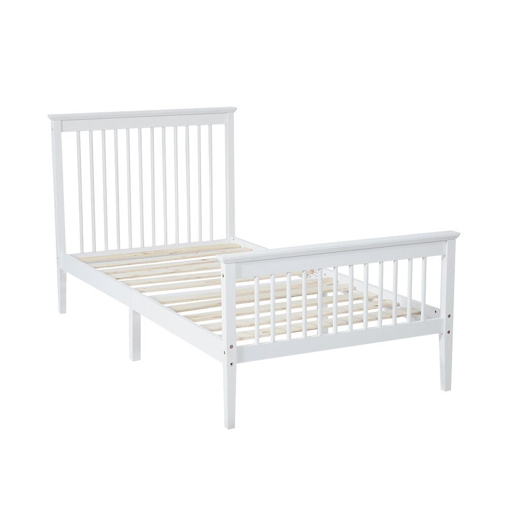Double Bed Frame White Solid Wood fit 190cm x 90cm Mattress - Vintageretrostyle