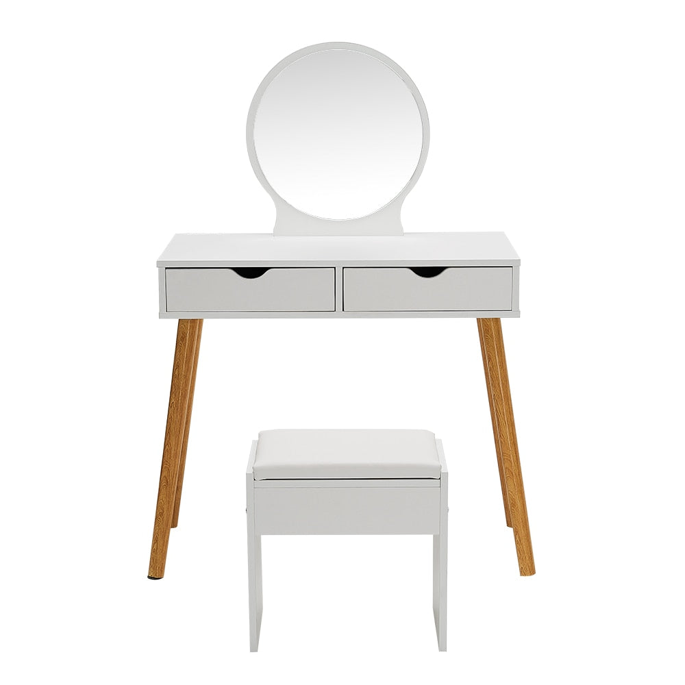 Bedroom Furnitures Simple Dressing Table Makeup Table Set 2 Drawers + Round Mirror + Stool White - Vintageretrostyle