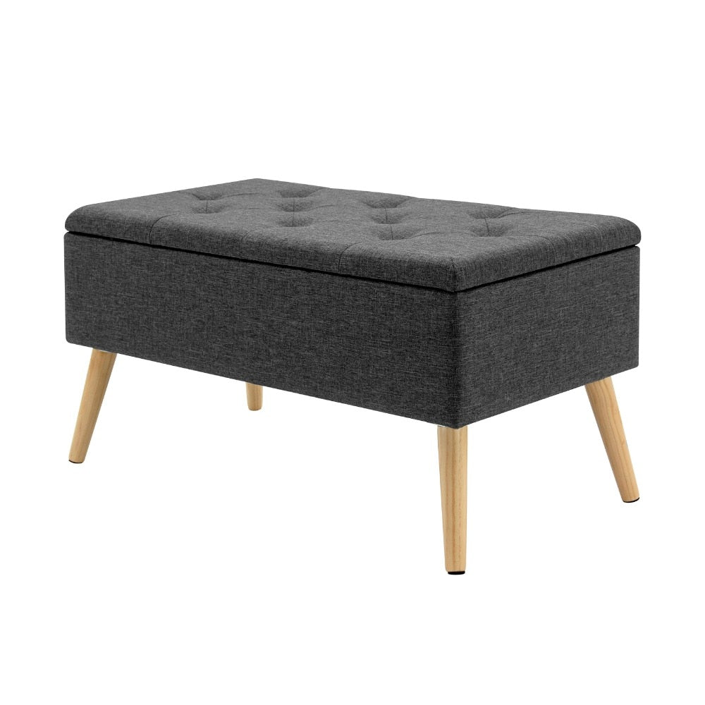 1PC Linen/Velvet Storage Ottoman Chair Stool Upholstered Footstool Bench Multifunction Pouffe Chair with Hinged Lid - Vintageretrostyle