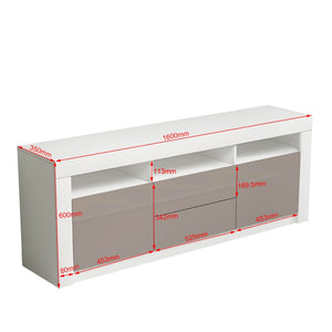 Modern 160cm TV Unit Cabinet TV Stand Matt Body & High Gloss Doors LED Lighting - Vintageretrostyle