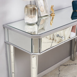Mirrored Glass Dressing Table 2 Drawers 3 folding Mirrors Stool Or table stool Bedroom Furniture Dresser - Vintageretrostyle