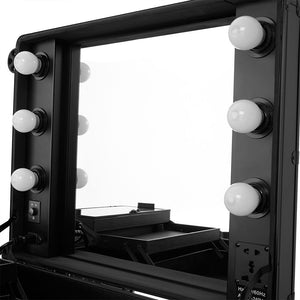 Portable Makeup Station with LED Mirrors Tray 4 Legs Table Free-standing Perfect for Outdoor Studio Artist Making Up - Vintageretrostyle