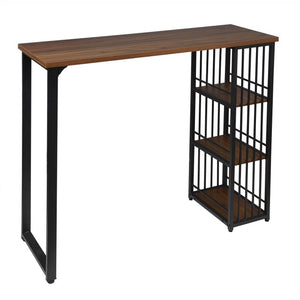 1PC Kitchen Bar Counter Table Bistro Table Breakfast Dining Coffee Table with 2-Tier Storage Rack with Shelves - Vintageretrostyle
