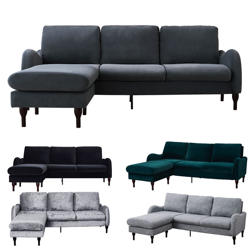 Comfy Velvet 3 Seater Sofa with Footstool Chair/Sofa Seating Couch Lounge Living Room Furniture - Vintageretrostyle