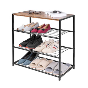 1PC Shoe Rack 3 Tier Shoe Bench with Seat Standing Metal Wood Shoe Storage Cabinet Cupboards Organizer for Hallway Home - Vintageretrostyle