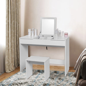 1 SET White Dressing Table with Dressing Stool Makeup Mirror Foldable Vanity High Gloss Table Top Bedroom Cosmetic Dresser Set - Vintageretrostyle