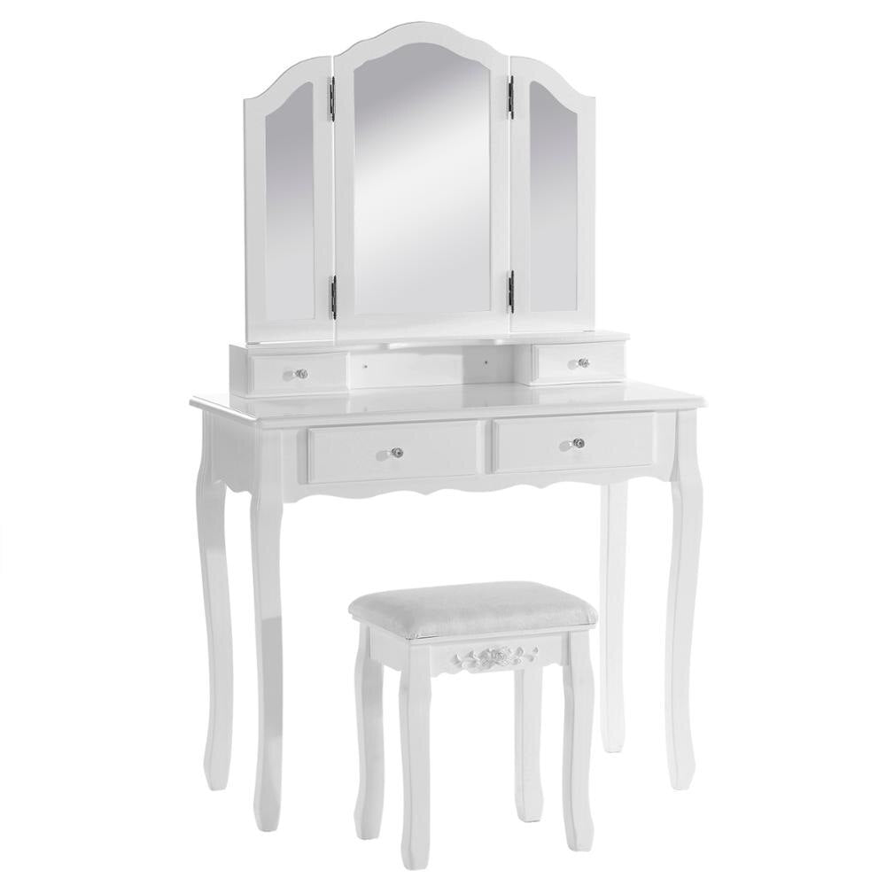 Cosmetic Vanity Table White Dressing Table Set with 3 Mirrors and 1 Stool 4 Drawers Makeup Desk for Bedroom - Vintageretrostyle