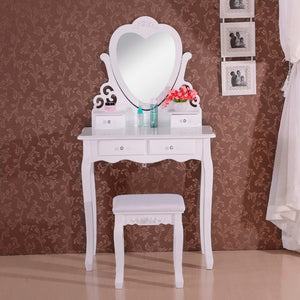Wood Dressing Table with Chair and Mirror 4 Drawers White Vanity Table Makeup Desk Bedroom Furniture - Vintageretrostyle