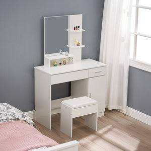 Dressing Table Makeup Table Vanity Desk Large Frameless Mirror Cushioned Stool Set 4 shelves 1 Storage Cabinet White - Vintageretrostyle