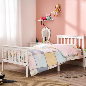 Wooden 3FT Single Bed Frame White Solid Pine Wood Bed for Adults Kids Teenagers - Vintageretrostyle