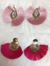Load image into Gallery viewer, Pretty in Pink Tassle Earrings