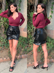 City Nights Faux Leather Skirt