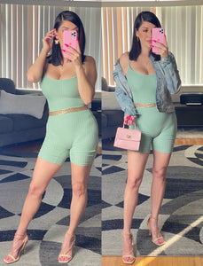 Glam Lounge Romper (Mint Green)