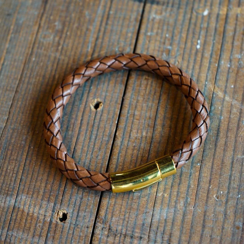 Hefty Braided Leather Bracelet