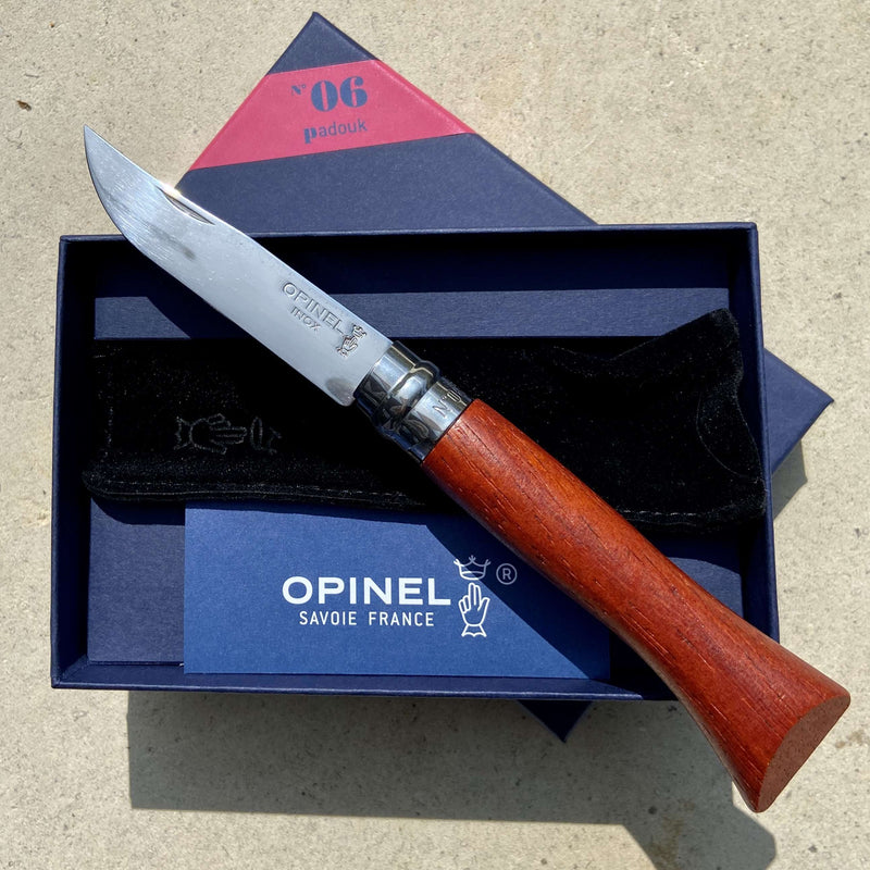 Opinel No.06 - Polished Stainless Steel Pocket Knife w/ Padouk Handle