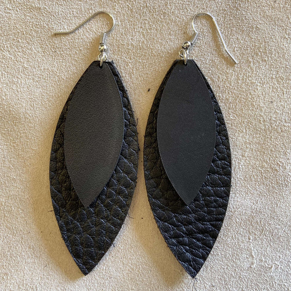 Lesa (Black layered earrings) - Odin Leather Goods