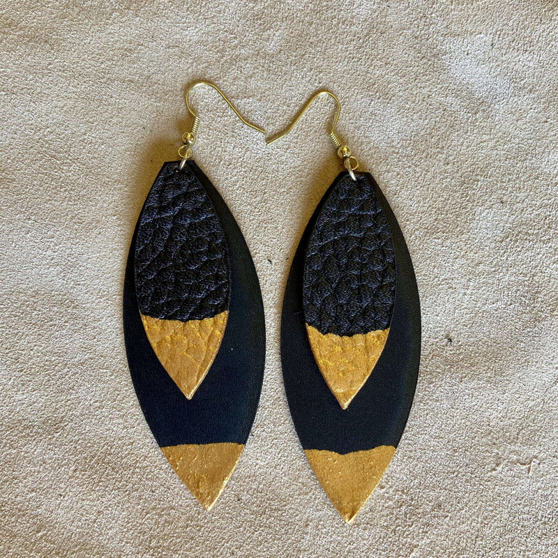 Naz (Gold Paint-Dipped Earrings) - Odin Leather Goods