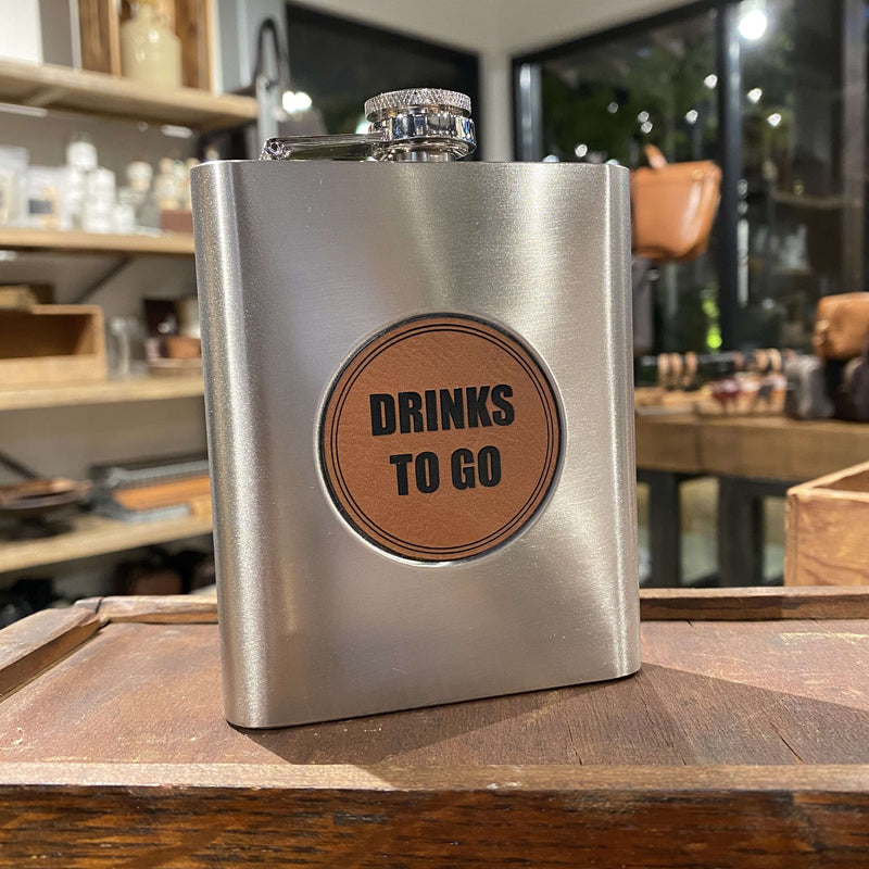 Flask w/ Leather Patch (6oz) - Odin Leather Goods
