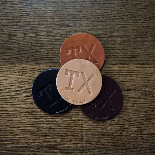 Leather Coasters - TX (set of 4)