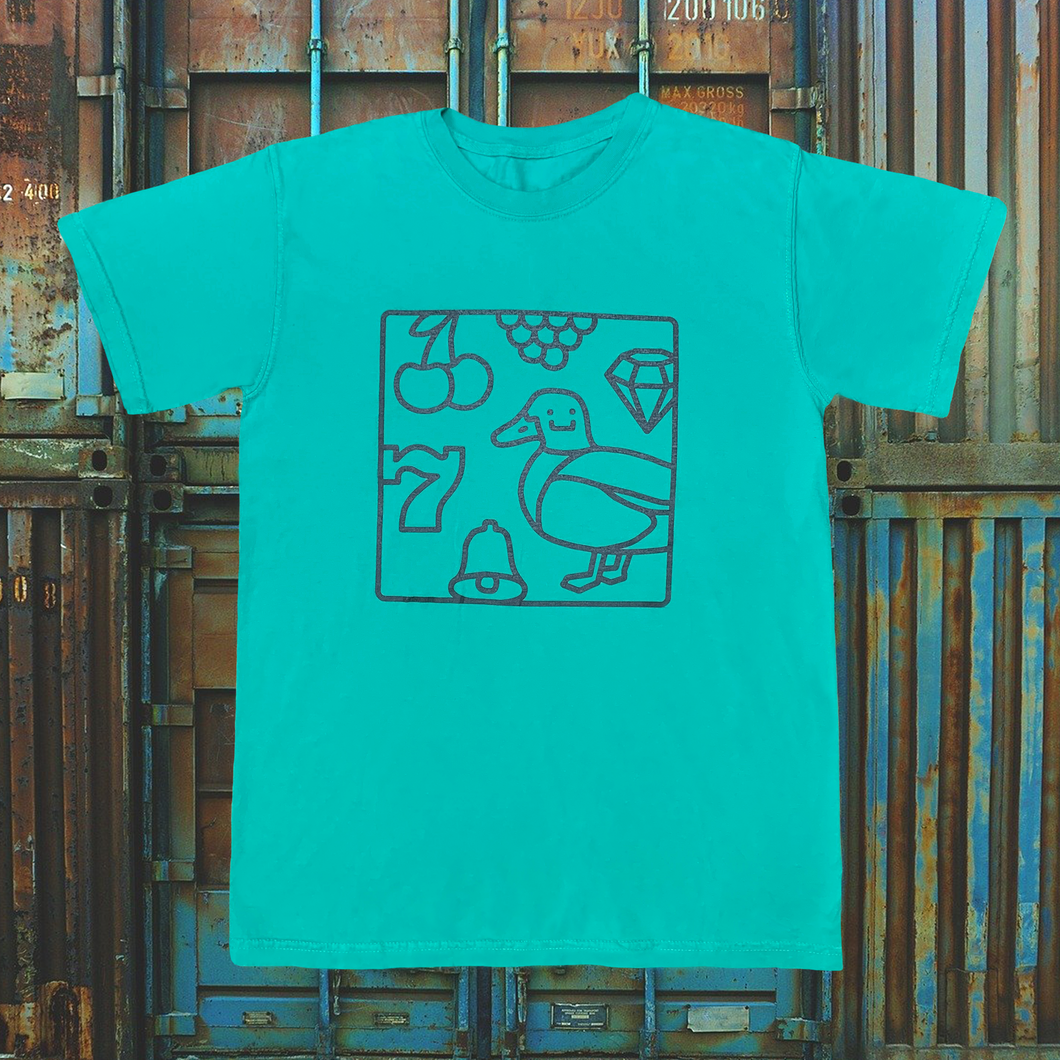 Lucky Duck Tee (green on teal)