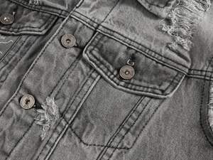Gray Distressed Cotton Denim Vest - drip4men.com - Mens online fashion store for premium denim jeans and urban streetwear.