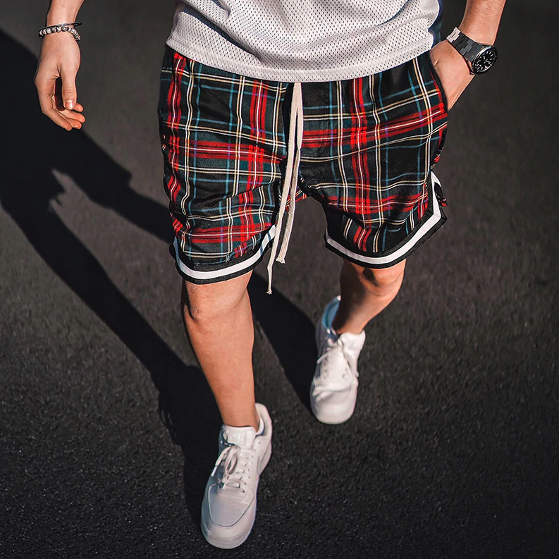 Oversized Drop Crotch Plaid Shorts - drip4men.com - Mens online fashion store for premium denim jeans and urban streetwear.