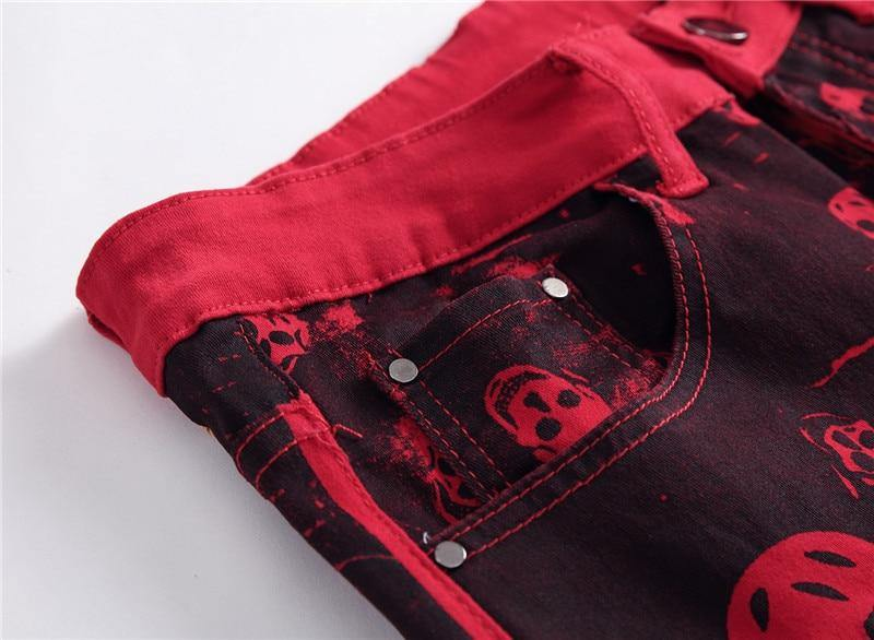 Fire Skull Hip Hop Jeans - drip4men.com - Mens online fashion store for premium denim jeans and urban streetwear.