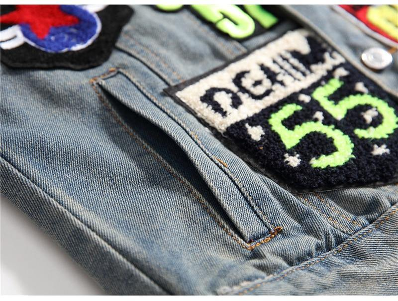 Retro Letters Patchwork Denim Jacket - drip4men.com - Mens online fashion store for premium denim jeans and urban streetwear.
