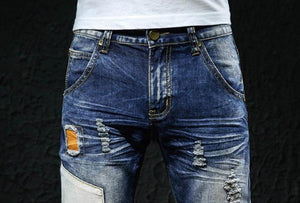 Trendy Ripped Patched Denim Jeans - drip4men.com - Mens online fashion store for premium denim jeans and urban streetwear.