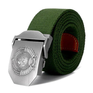 Soviet Emblem Buckle Canvas Belt - drip4men.com - Mens online fashion store for premium denim jeans and urban streetwear.