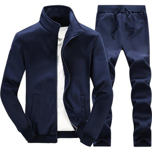 Solid Colour Mandarin Collar Tracksuit - drip4men.com - Mens online fashion store for premium denim jeans and urban streetwear.
