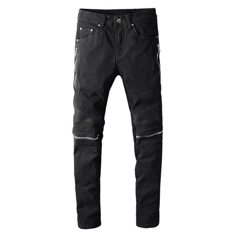 Zipper Knee Black Denim Jeans - drip4men.com - Mens online fashion store for premium denim jeans and urban streetwear.