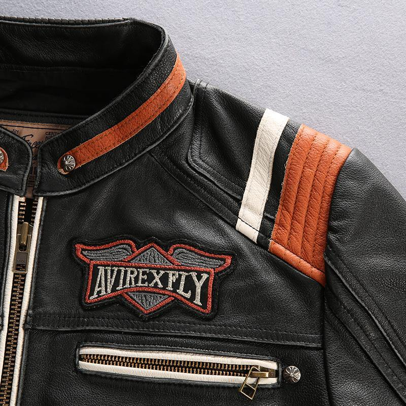Genuine Leather Embroidered Biker Jacket - drip4men.com - Mens online fashion store for premium denim jeans and urban streetwear.
