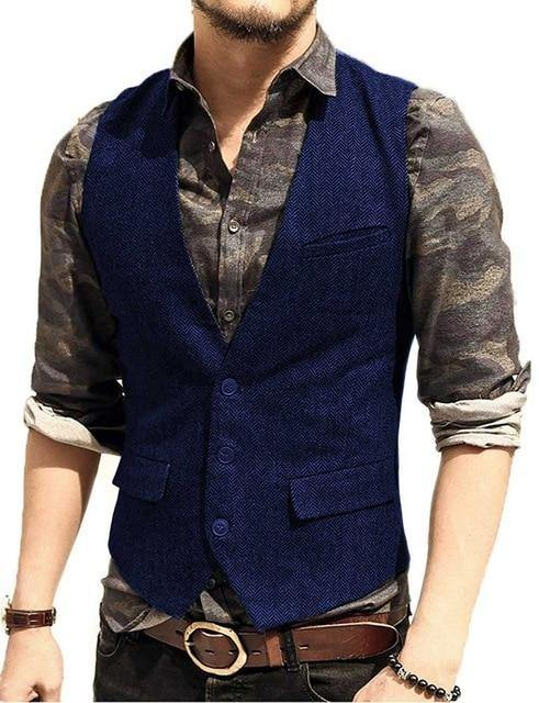 Casual Look Vest Herringbone Tweed
